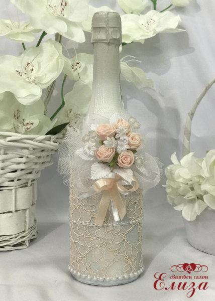 Украсено сватбено шампанско в цвят пудра 29